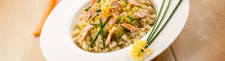 Caramelized honey salmon risotto