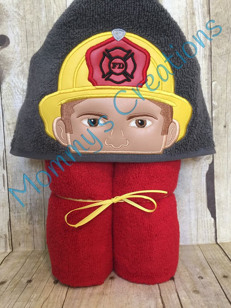 """Fireman Applique Hooded Bath Towel, Beach Towel 30"""" x 54""""  Personalization Available by MommysCraftCreations on Etsy"""