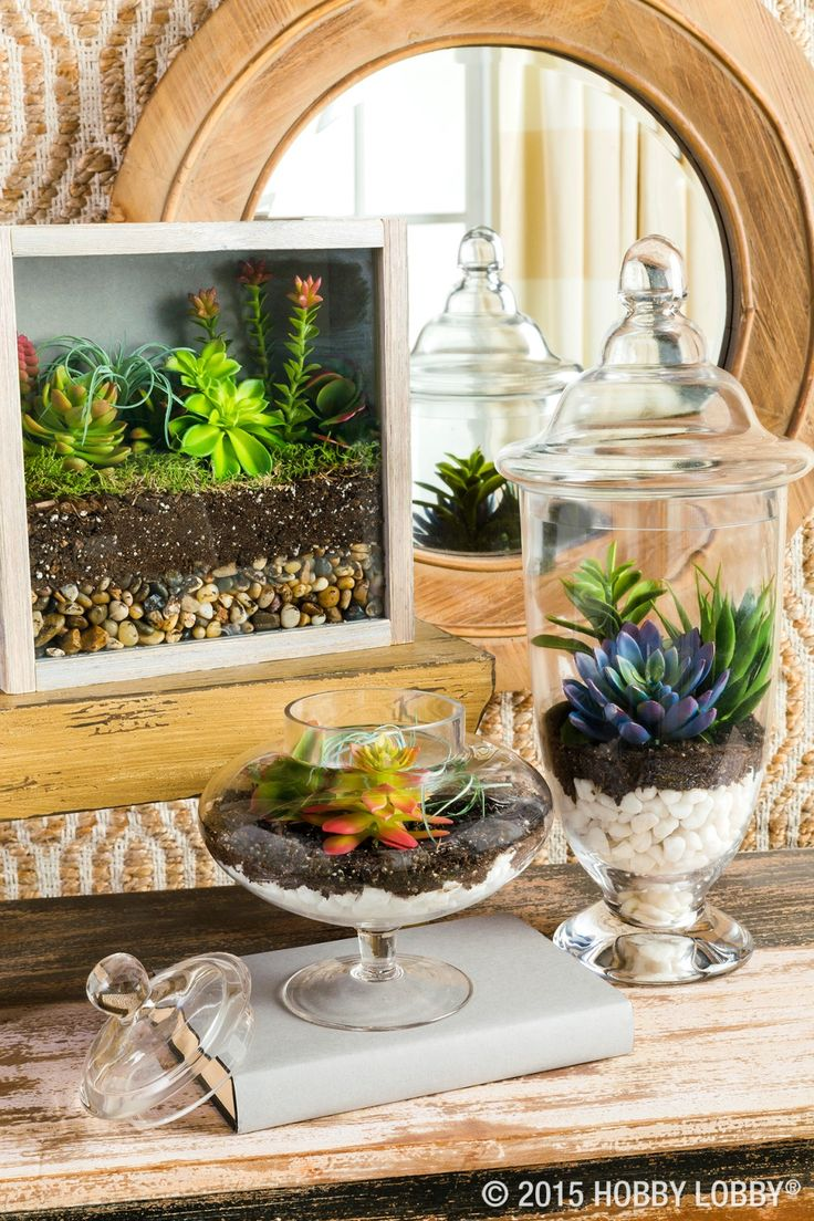 Obtain sophisticated style with faux succulents and chic terrariums!