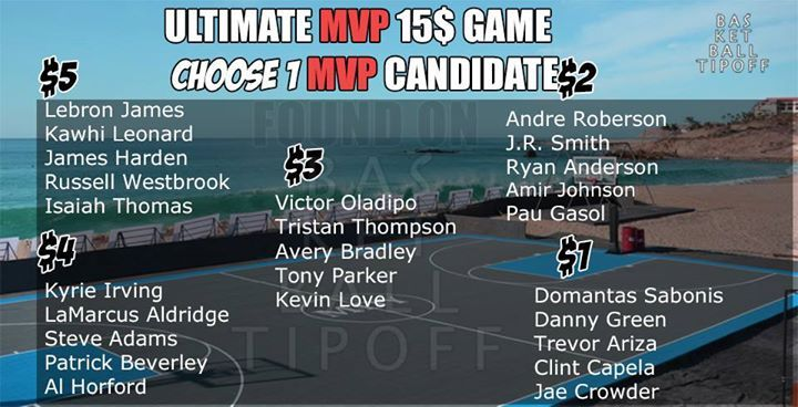Who really is the Most Valuable Player  15$ GAME MVP analysis. Best Team wins.  MVP front runners are $5 Lebron James Cleveland Cavaliers Kawhi Leonard San Antonio Spurs James Harden  Houston Rockets Russell Westbrook Oklahoma City Thunder Isaiah Thomas Boston Celtics  Their teammates make up the other valuations. Give your team a meme most likes wins.  $4  Kyrie Irving  LaMarcus Aldridge  Steve Adams  Patrick Beverley  Al Horford  $3 Victor Oladipo Tristan Thompson Avery Bradley Tony Parker…
