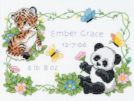 Stamped Cross Stitch, Baby Animals Birth Record  --I think this one is so cute!