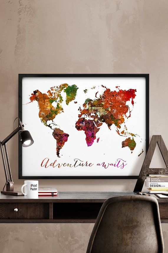 World map poster Art Print Abstract World map by iPrintPoster