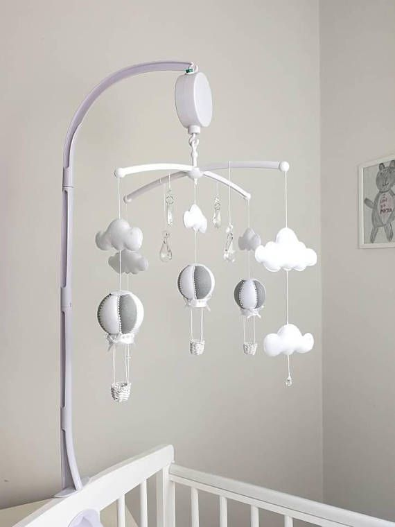 ed8d8392684 Musical Cot Baby Mobile - Hot Air Balloon Mobile - Crystal Mobile -  Monochrome Nursey Decoration
