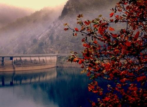 Plastira's artificial lake - The barrier (Karditsa - Greece)