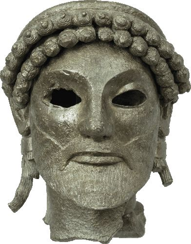 Bronze head of a statuette of Zeus, from his sanctuary at Olympia. 520-510 B.C.  © NATIONAL ARCHAEOLOGICAL MUSEUM OF ATHENS