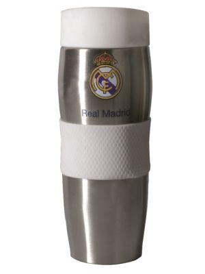 Real Madrid 400ml kubek termiczny  • wykonany ze stali nierdzewnej i tworzywa • logo klubu – licencja Realu Madryt • silikonowa opaska • pojemność 400 ml • zachowuje temperaturę do 6 godz. • opakowanie w barwach klubowych