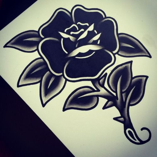 dark black flower old school tattoo traditional