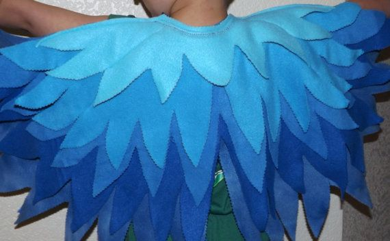 RIO Blue Macaw * Bluejay Play Costume Bird Wings with matching Mask - Kid's Costume Fleece BlueBird Wings and Mask