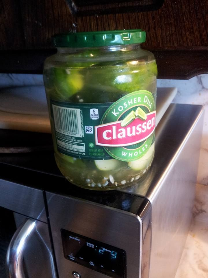 I love the flavor of Claussen pickles but when I ate them I had some leftover fresh dill and cucumbers so I reused the juice and just sliced the cucumber and added a couple of sprigs of dill. The Claussen pickle juice is used in cold processing perfect for raw cucumber.