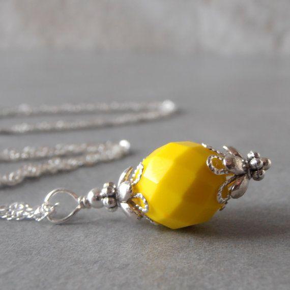 Lemon Yellow Bridesmaid Necklace Yellow Pendant by FiveLittleGems