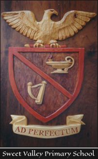 A Coat of Arms for Sweet Valley High School.   Custom carved in wood and painted by the Sign Carver http://www.signcarver.co.za/coats-of-arms/