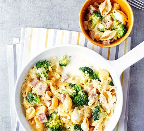 Satisfy your comfort food cravings with this cheap and simple creamy pasta dish with chunks of ham and crunchy veg