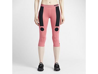 Who decided that those vigorous exclamation points would be best used to accent a perfectly-toned athlete's non-existent saddlebags?...   Nike Pro Circulo Women's Training Capris