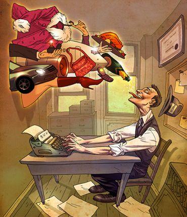 Illustration about commercial journalism for the Los Angeles Times   Illustrator: Asaf Hanuka