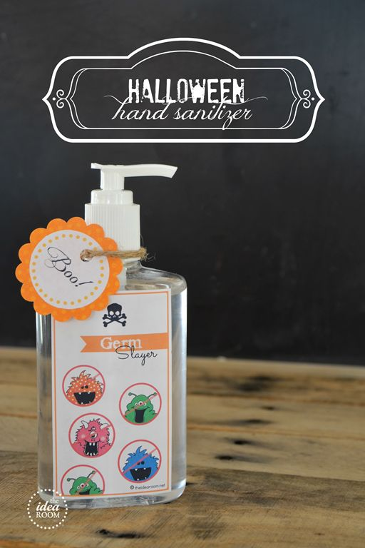 Halloween Printable Hand Sanitizer Gift Tags... Love this for teachers!