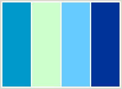 Sea green, light blue, sky blue and medium blue color scheme