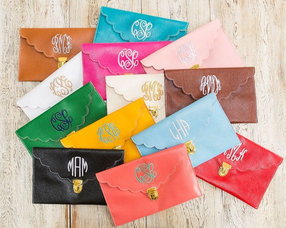 SCALLOPED Monogrammed Clutch Purse in 13 colors by PoppyPine