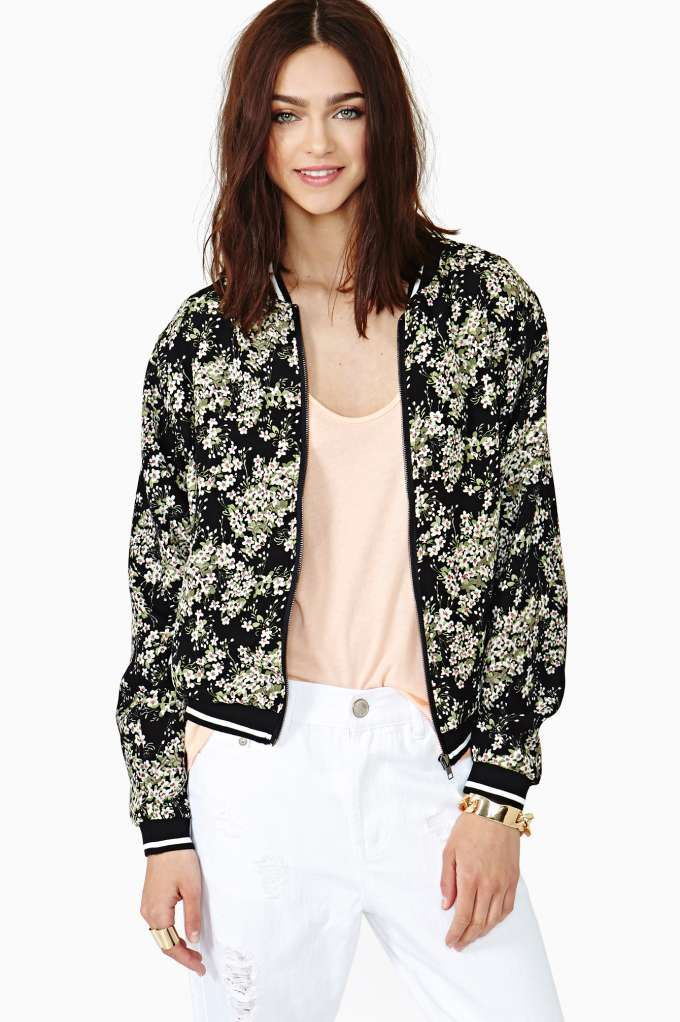 Best Buds Bomber Jacket, $34, Nasty Gal. Let it bloom in this oversized bomber jacket with a floral print and black and white striped trim.
