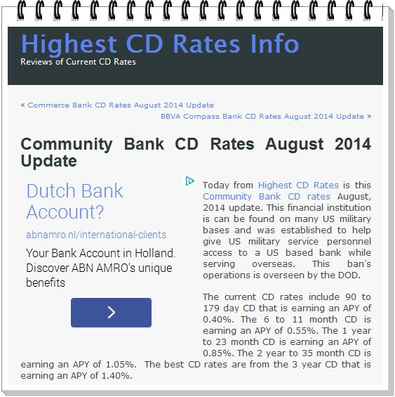 The Banker: Community Bank CD Rates August 2014 Update