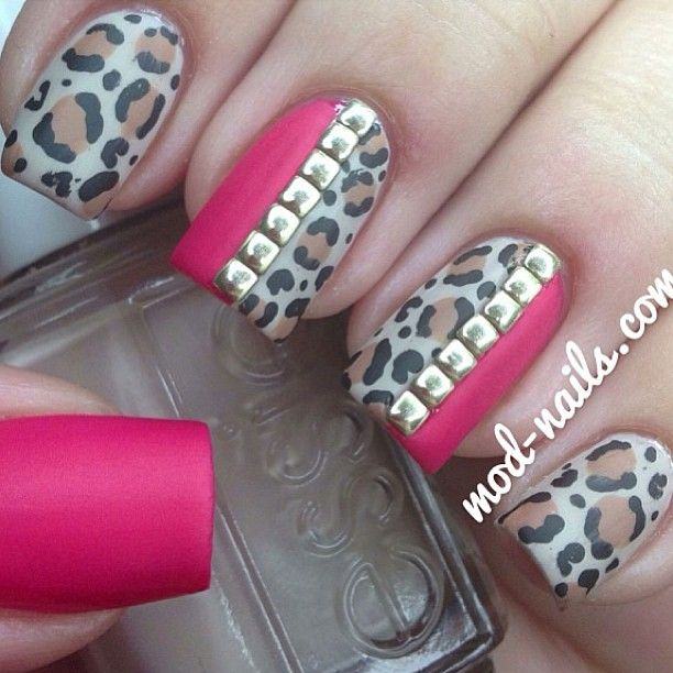 Pink and leopard print with studs
