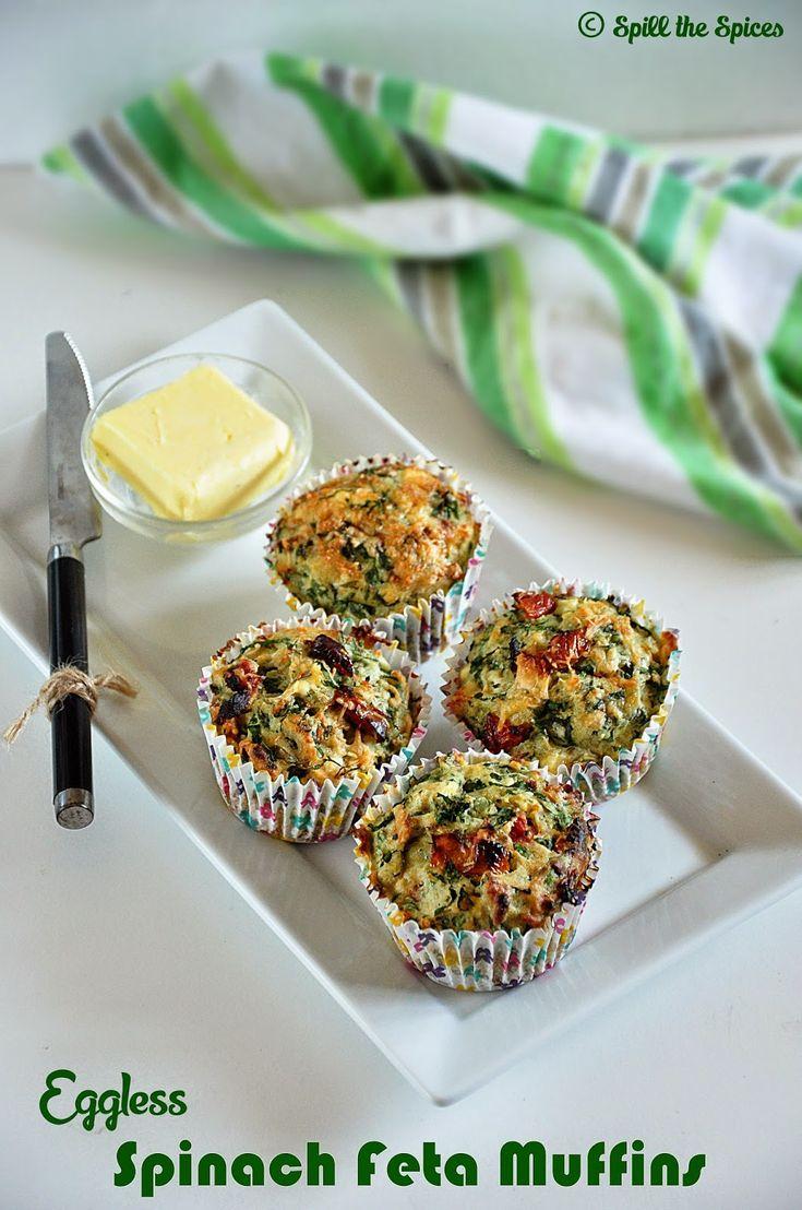 Eggless Spinach Feta Muffins