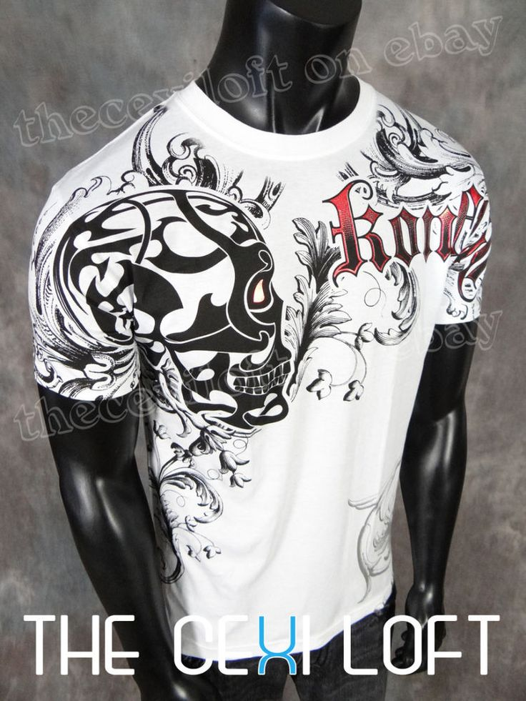 NEW MENS KONFLIC GRAPHIC T-SHIRT White Tribal Skull Red Foil Highlights MMA   Clothing, Shoes & Accessories, Men's Clothing, T-Shirts   eBay!