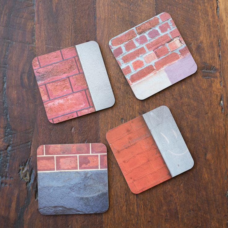 Jo Ward Photography Set of 4 Coasters showing coloured  brickwork found around Fremantle