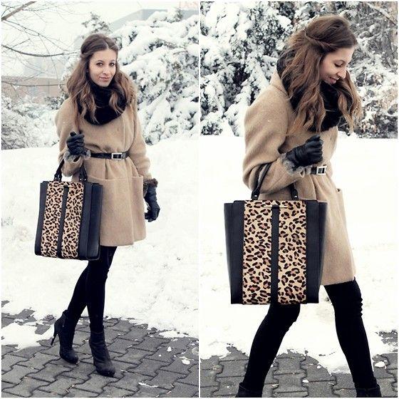 Zara Leo Bag, United Colors Of Benetton Camel Coat, Zara Black Heels, Wittchen Leather Gloves