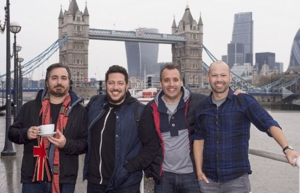 Impractical Jokers filming in the UK! - poor Murr without eyebrows