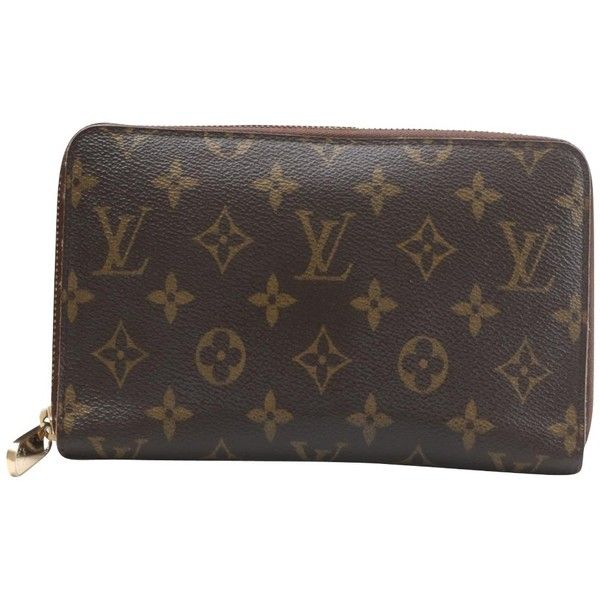 "Pre-owned """"Zippy Monogram Canvas"""" (€539) ❤ liked on Polyvore featuring bags, wallets, brown, canvas bags, brown bag, louis vuitton bags, louis vuitton and monogram wallet"