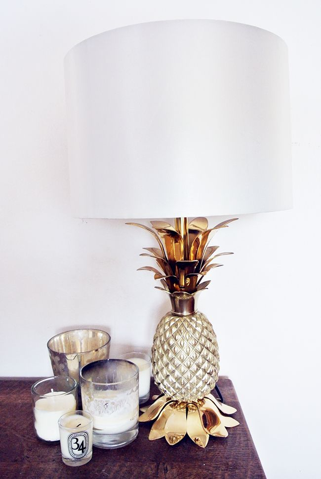 pineapples on the nightstand. #pineapple #lamp #shade #stand #candle #candles #home #style