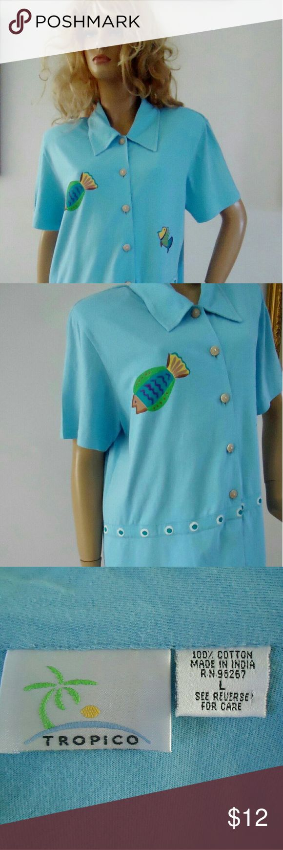 "Tropico Cruise Vacation Shirt Ocean Blue Fishes Tropico Vacation Shirt ~ Cruise ~ Island Breeze ~?Bright Ocean Blue?Fish Pattern?   ?Button down ,?short sleeve shirt?, side slits, padded shoulders , ""coconut"" ?buttons  Measurements when lying flat:?23.5"" bust (armpit to armpit) , 19"" shoulder to shoulder, 29.5"" long(neckline to hemline) . Great condition! Tropico  Tops Button Down Shirts"