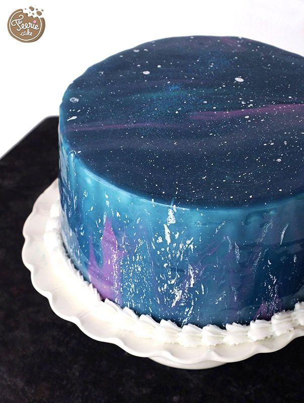 Le galaxy cake ! Réalisé en glaçage miroir !