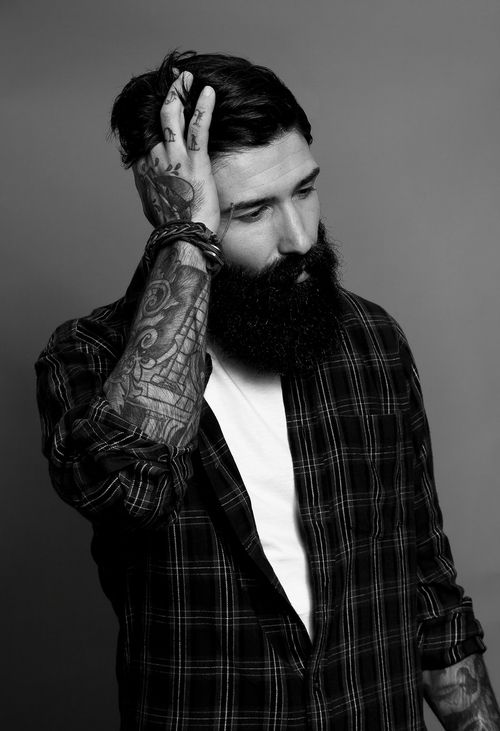full thick black beard and mustache beards bearded man men mens' style bushy tattoos tattooed handsome bearding #beardsforever