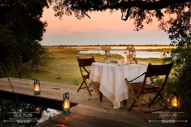 Romantic sunset dinner overlooking the Zibadianja Lagoon | Zarafa Camp