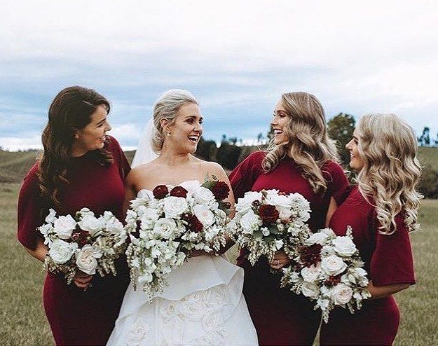 Bride tribe 💃💃💃💃 The deep colours of the bridesmaids dresses against the Brides gown look 🙌🏼🙌🏼🙌🏼 #repost @niki_photography_weddings Photography @niki_photography_weddings Ve