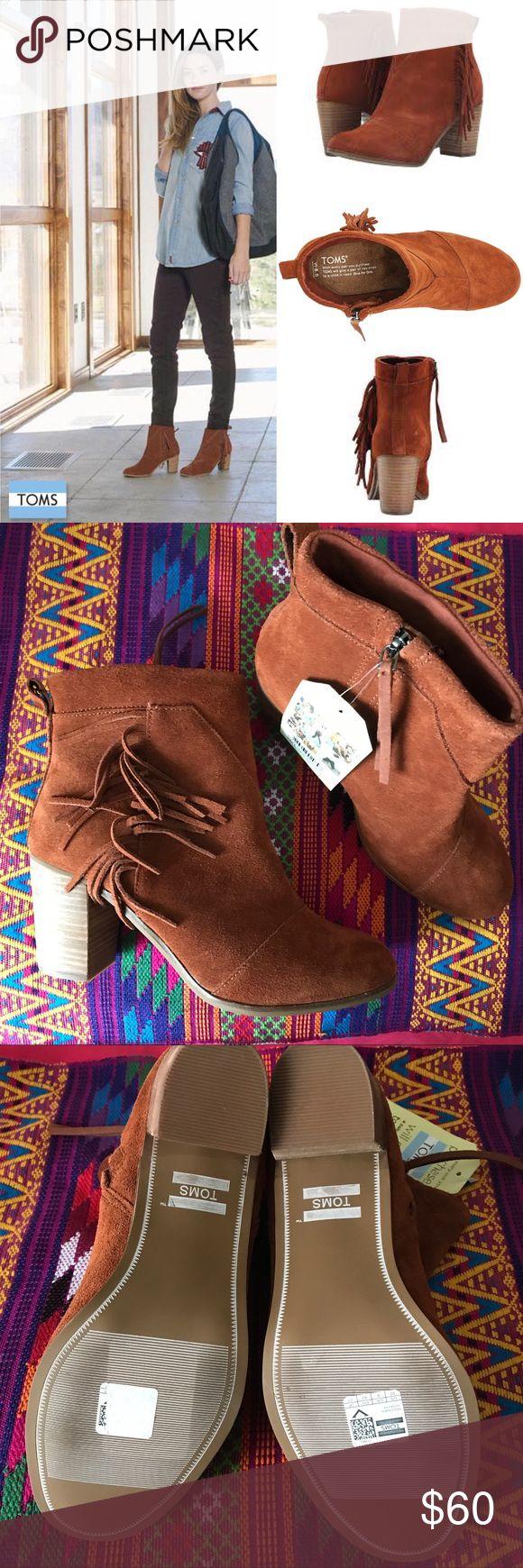 "Toms fringe booties NEW suede fringe booties, inner zipper, 2.75"" heel, TTS. Color is called cognac 👛Bundle for discount TOMS Shoes Ankle Boots & Booties"