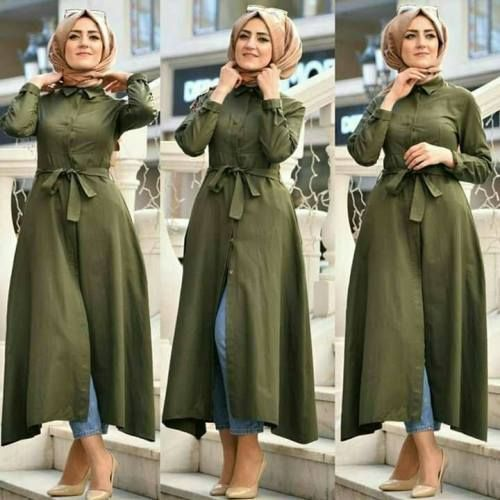 Olive belted dress with jeans-Spring casual outfits for hijabi women – Just Trendy Girls
