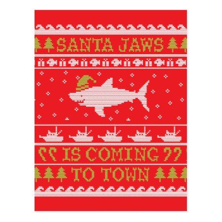 Santa Jaws Ugly Sweater Christmas Shark Postcard - tap to personalize and get yours