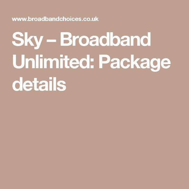 Sky – Broadband Unlimited: Package details