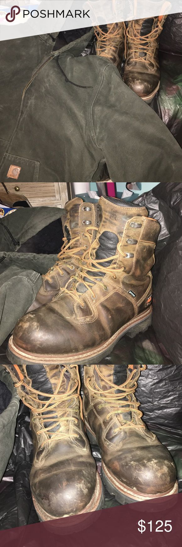 Bundle -Men's Carhartt jacket and Timberland Boots XL Tall -> Carhartt Jacket. Size 12 Wide waterproof work boots. A few scuffs on top of boots. Selling as a bundle for 125 bucks. Great deal. Carhartt Shoes Boots