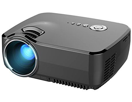 "HD Mini Portable Projector, Meyoung LED Pico Projector Gp70 Full Color 150"" 1200 Lumens Home Cinema 800*600 Resolution 1080p Video Projectors for Movies, TV, Party and Games, Black"