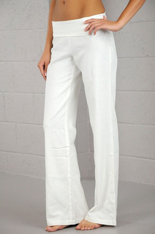 Flowing linen pants with yoga like elastic waistband. Available in White, Black, Navy, Coral and Taupe. Length from top of elastic band to bottom is 45.5 inches (size medium). Band is 6 inches . Hand