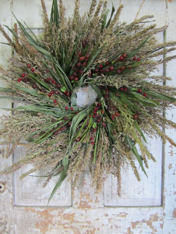 Corn Tassel Grass Primitive Berry and Pod Wreath by NaturesLot, $49.50