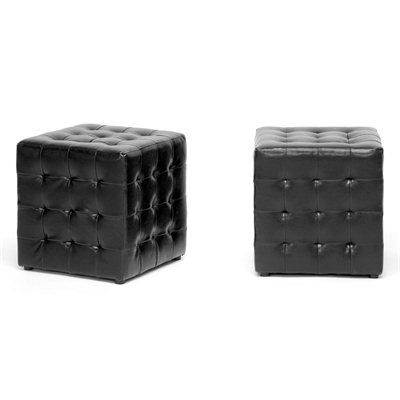 Who would have though such a small ottoman could pack such a punch? The detailed construction of our Siskal Ottoman is rounded out with faux leather panels stitched together and pulled inward at their intersections, creating the allover tufted look.  Features:   Transitional-style 2-pc ottoman set  Faux leather with a tufted appearance  Solid wood and plywood frame  Black plastic feet  Fabric-lined bottom  Hollow and lightweight but sturdy  Made in Malaysia  Fully assembled  To ...