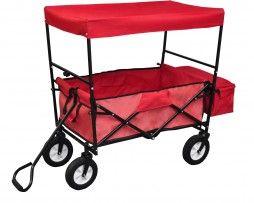 Chariot de transport à main avec auvent Rouge déplié plié robuste