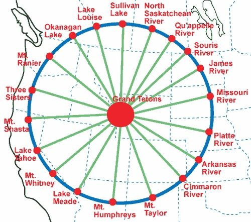 Magnetic Ley Lines in America | Grand Teton Circle - Ley Line Maps - Directory of Sacred Places
