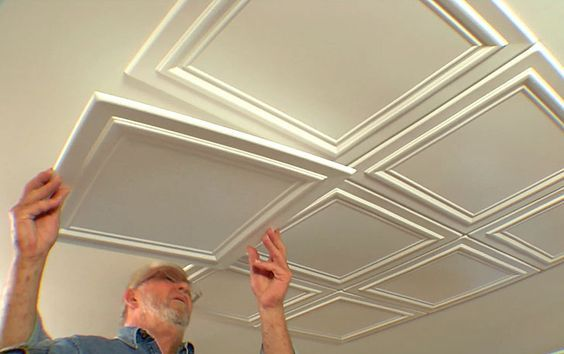 <p>Embossed polystryrene foam ceiling tiles are easy to install while…