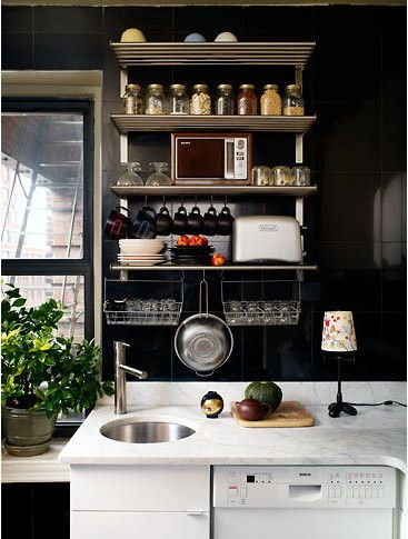 white cabinets, black tile, marble countertop.Kitchens Shelves, Open Shelves, Kitchens Organic, Small Kitchens, Kitchens Ideas, Smallkitchens, Small Spaces, Kitchens Storage, Black Wall