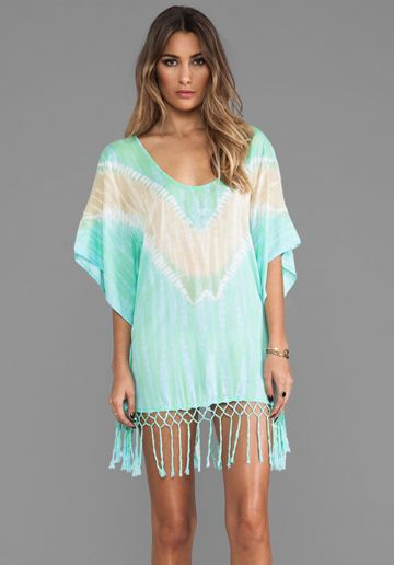 TIARE HAWAII Tropics Fringed Tie Dye Mini Dress in Teal Tie Dye at Revolve Clothing - Free Shipping!